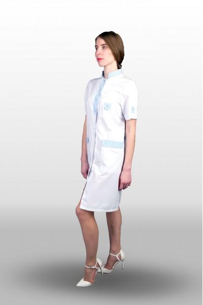 Халат 402-16, бело-голубая отд, женский