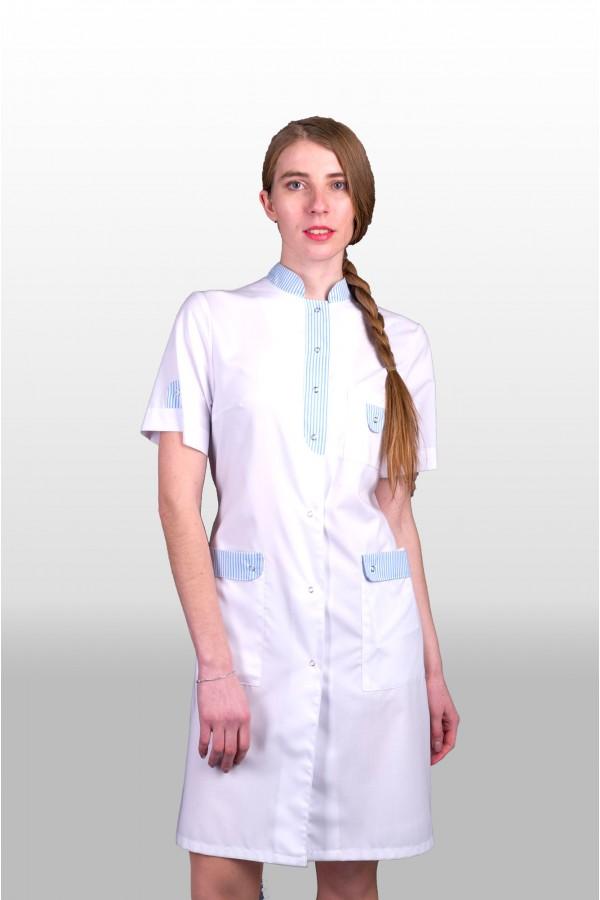 Халат 402-16, бело-голубая отд, женский пошив под заказ ПТУП Баркос ОО БелОИ