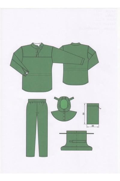 Комплект: Костюм (блуза, брюки)  Мод. 0559 +0104, Шлем Мод 0333, бахилы Мод 0413, мешок упаковочный 35 х55 см
