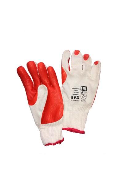 Перчатки трикотажные с ПВХ и усиленной резинкой